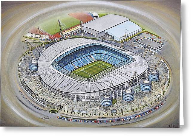 Art Mobile Greeting Cards - Etihad Stadium - Manchester City Greeting Card by D J Rogers