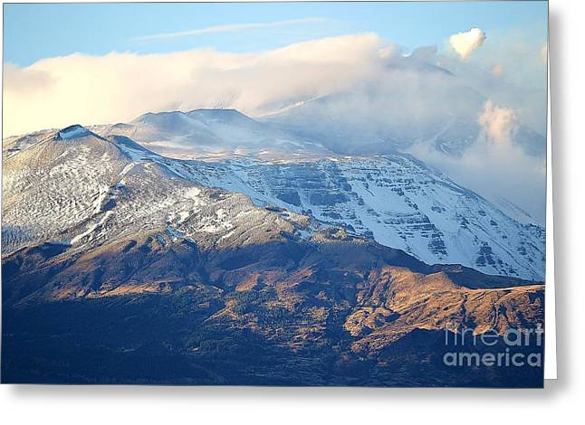 Mountains Ceramics Greeting Cards - Etna with Snow Greeting Card by Kathleen Pio