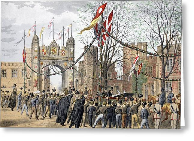 Royalty Greeting Cards - Eton Schools And The Boys Arch - Visit Greeting Card by Robert Charles Dudley