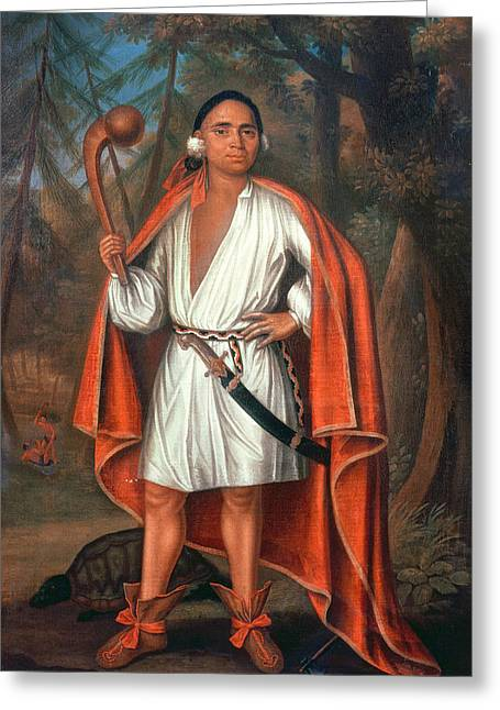 Full-length Portrait Greeting Cards - Etow Oh Koam, King Of The River Nations, 1710 Oil On Canvas Greeting Card by Johannes or Jan Verelst