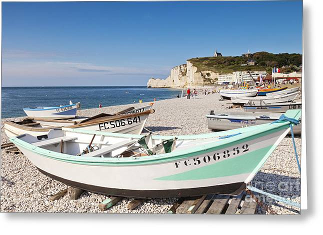 Etretat Greeting Cards - Etretat Beach and Boats Greeting Card by Colin and Linda McKie