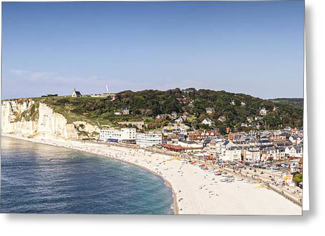 Etretat Greeting Cards - Etretat Normandy France Panorama Greeting Card by Colin and Linda McKie