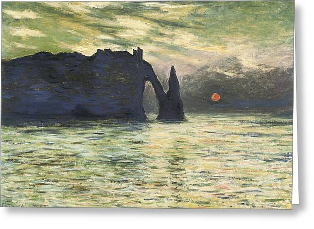 Best Sellers -  - Cliffs Over Ocean Greeting Cards - Etretat Sunset Greeting Card by Claude Monet