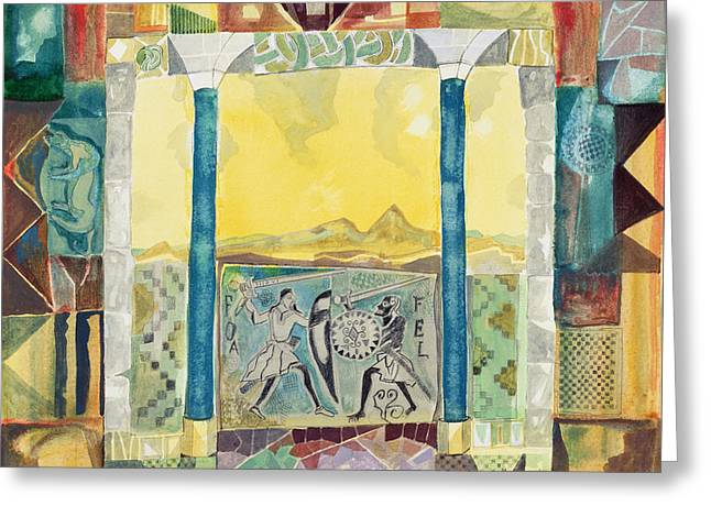 Fighting Greeting Cards - Etruscan Warriors, Tuscania Greeting Card by Michael Chase