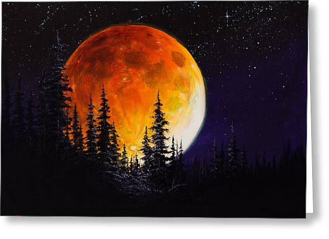 Bob Ross Paintings Greeting Cards - Ettenmoors Moon Greeting Card by C Steele