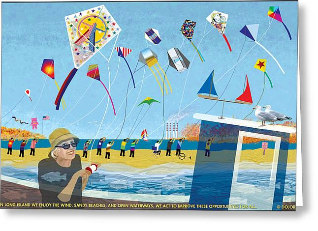 Recently Sold -  - Flying Seagull Greeting Cards - Etude Fifteen Kites Greeting Card by Doris Rowe