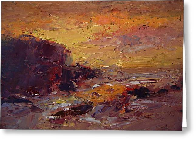 Etude Spooner's Cove At Sunset Greeting Card by R W Goetting