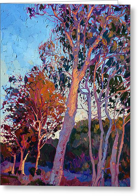 Rolling Hills Greeting Cards - Eucalyptus in Color Greeting Card by Erin Hanson