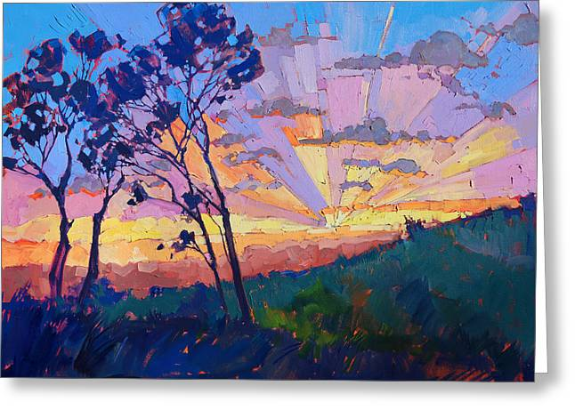 Oi Greeting Cards - Eucalyptus Rays Greeting Card by Erin Hanson