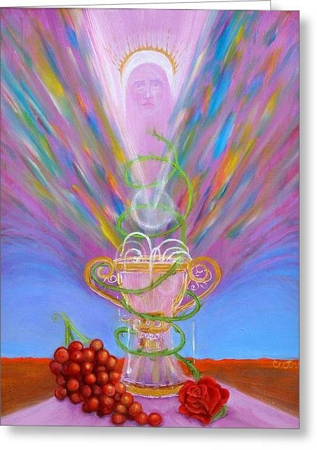 Transubstantiation Greeting Cards - Eucharist Greeting Card by Anne Cameron Cutri