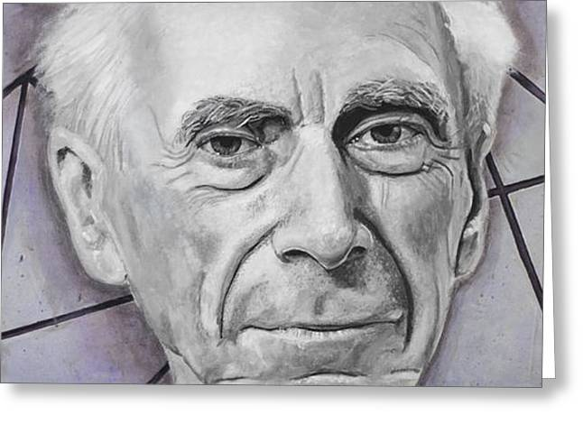 Printed Greeting Cards - Euclid- Bertrand Russell Greeting Card by Simon Kregar