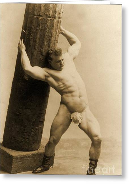 Physical Body Photographs Greeting Cards - Eugen Sandow Greeting Card by American School