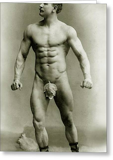 Moustache Greeting Cards - Eugen Sandow in classical ancient Greco Roman pose Greeting Card by American Photographer