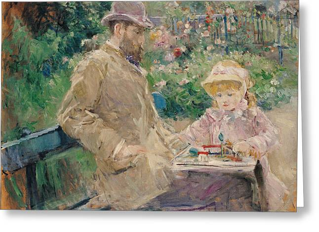 Bowler Greeting Cards - Eugene Manet 1833-92 With His Daughter At Bougival, C.1881 Oil On Canvas Greeting Card by Berthe Morisot