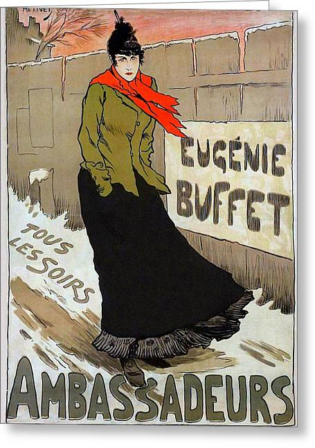 Belle Epoque Mixed Media Greeting Cards - Eugenie Buffet Greeting Card by Lucien Metivet