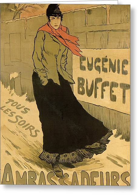 Fence Drawings Greeting Cards - Eugenie Buffet poster Greeting Card by Lucien Metivet