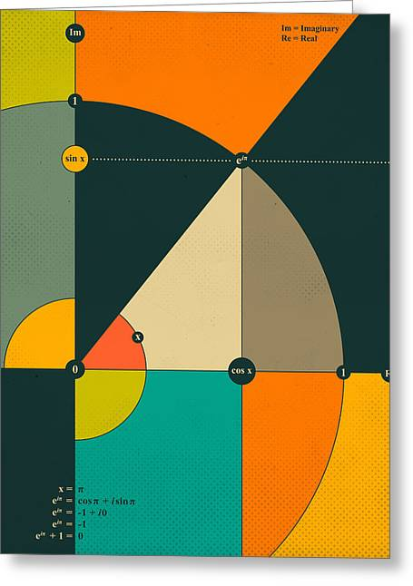 Geometric Art Greeting Cards - Eulers Equation Greeting Card by Jazzberry Blue