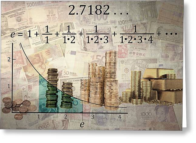 Calculating Greeting Cards - EULERS NUMBER and EQUATION - COMPOUND INTEREST Greeting Card by Daniel Hagerman