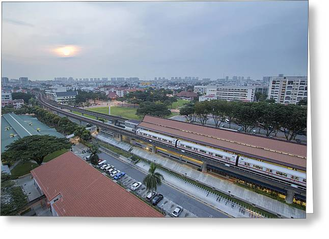 Planned Community Greeting Cards - Eunos MRT Train Station at Sunrise Greeting Card by JPLDesigns