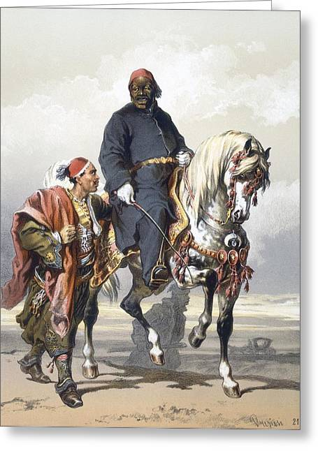 Seraglio Greeting Cards - Eunuch Of The Seraglio On A Fine Arab Greeting Card by Amadeo Preziosi