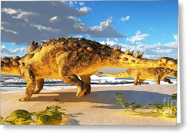 Tutu Digital Art Greeting Cards - Euoplocephalus Dinosaur Greeting Card by Corey Ford