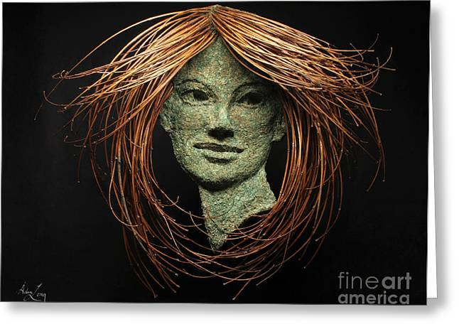 Greek Sculpture Mixed Media Greeting Cards - Euphrosyne of the Three Graces Greeting Card by Adam Long