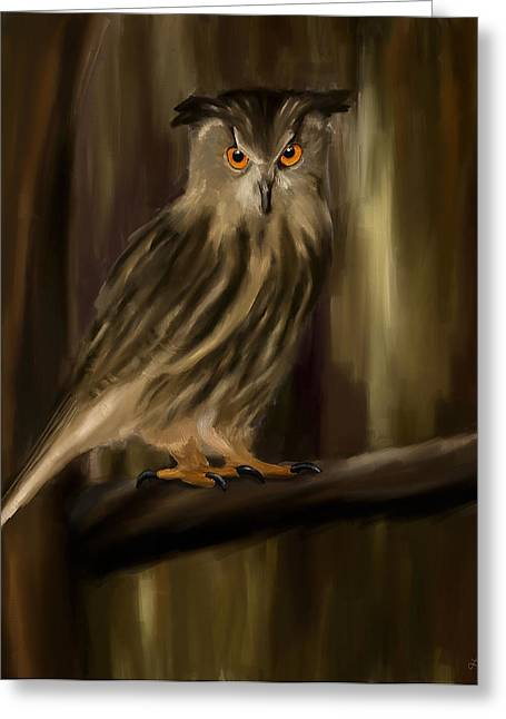 Brown And Green Greeting Cards - Eurasian Owl Look Greeting Card by Lourry Legarde