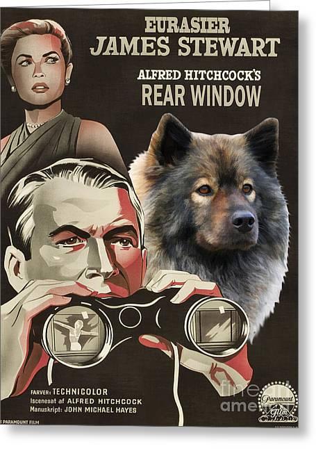 Rear Window Greeting Cards - Eurasier Art Canvas Print - Rear Window Movie Poster Greeting Card by Sandra Sij
