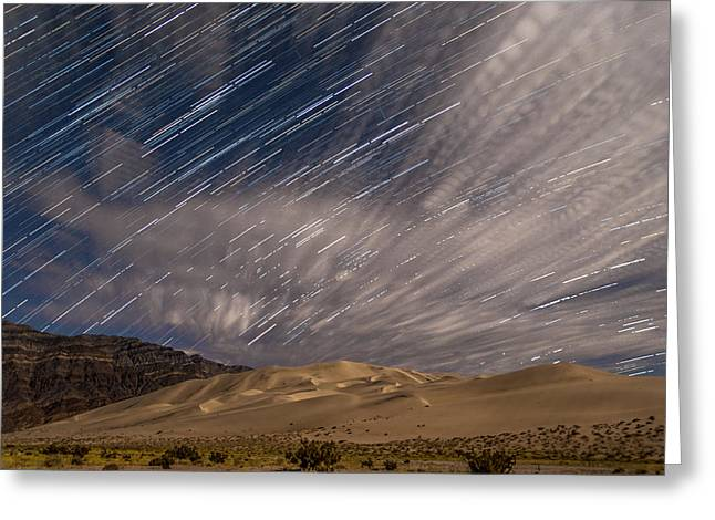 California Adventure Park Greeting Cards - Eureka Dunes Star Trails Greeting Card by Cat Connor