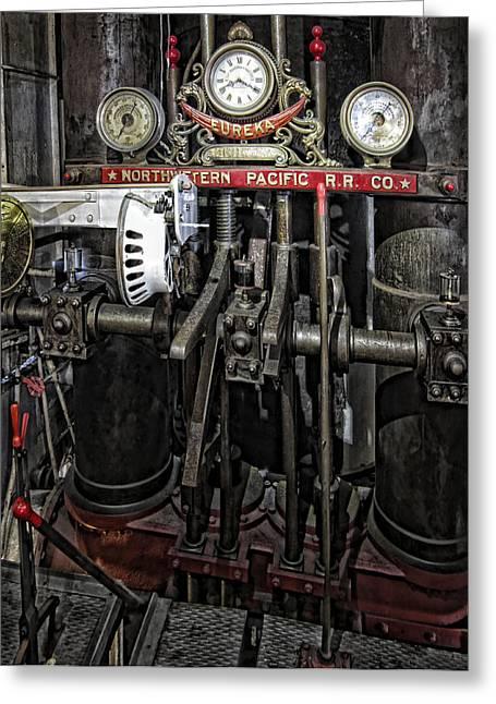 Tiburon Greeting Cards - Eureka Ferry Steam Engine Controls - San Francisco Greeting Card by Daniel Hagerman