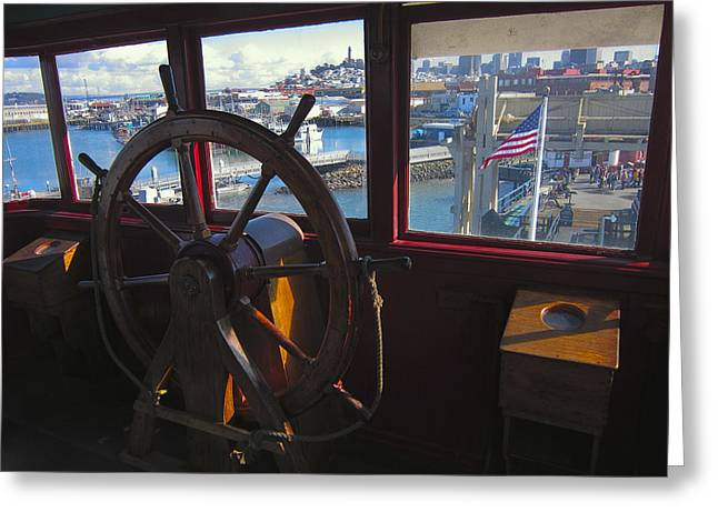 Boats At Dock Greeting Cards - Eureka Ferry Wheelhouse Greeting Card by Daniel Hagerman