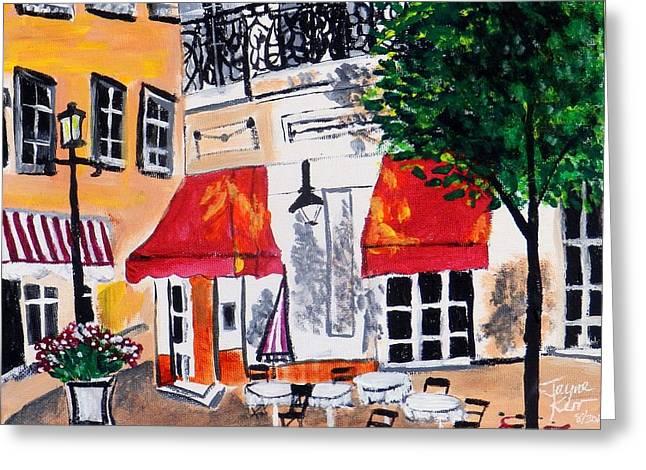European Bicycle Shop Greeting Cards - Euro Cafe Greeting Card by Jayne Kerr