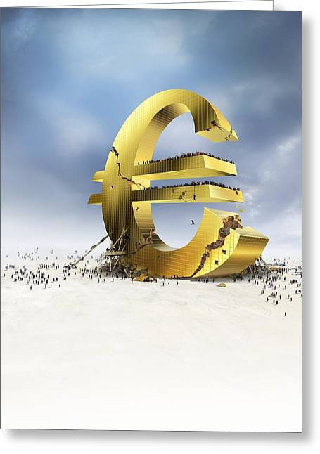 The Debt Greeting Cards - Euro economic crisis, conceptual artwork Greeting Card by Science Photo Library