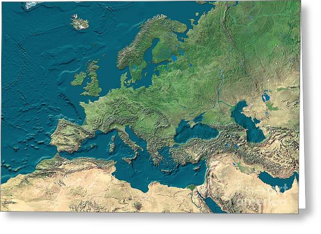 Northern Africa Photographs Greeting Cards - Europe And Northern Africa, Satellite Greeting Card by WorldSat International Inc.