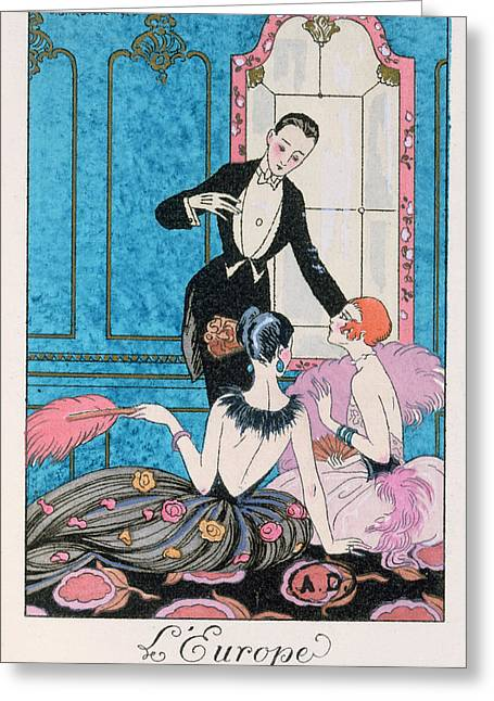 Conversations Greeting Cards - Europe illustration for a calendar for 1921 Greeting Card by Georges Barbier