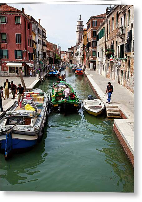 Europe Italy Venice Merchants Greeting Card by Terry Eggers