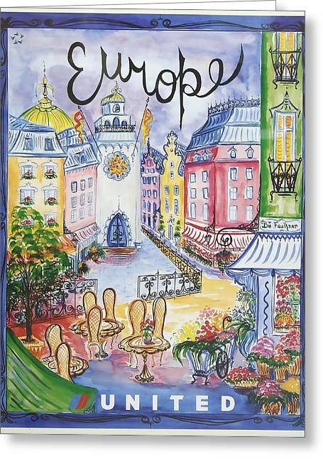 Best Sellers -  - Europe Mixed Media Greeting Cards - Europe United Airlines Greeting Card by David Wagner