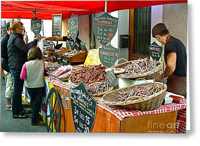 French Greeting Cards - French Street Market Greeting Card by France  Art