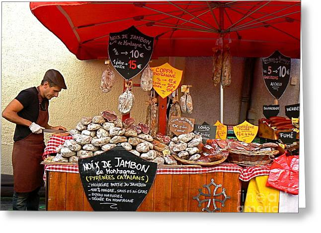 Local Food Places Greeting Cards - European Butcher Greeting Card by France  Art
