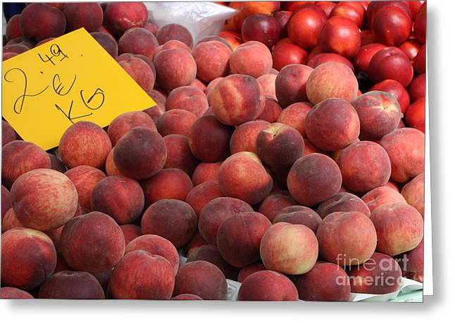 European Markets Greeting Cards - European Markets - Peaches and Nectarines Greeting Card by Carol Groenen