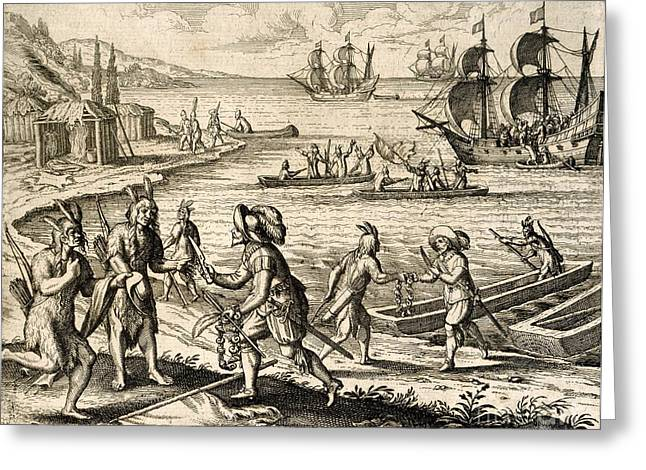 Buy Goods Greeting Cards - Europeans Trading In Newfoundland, 1612 Greeting Card by British Library
