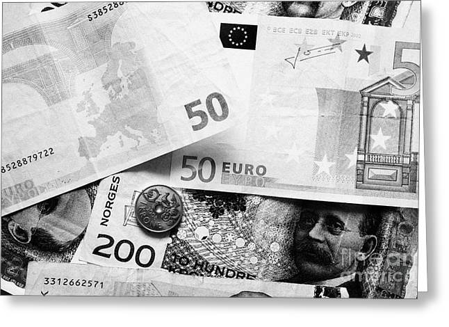 Scandanavian Greeting Cards - Euros And Norwegian Kroner Currency Greeting Card by Joe Fox