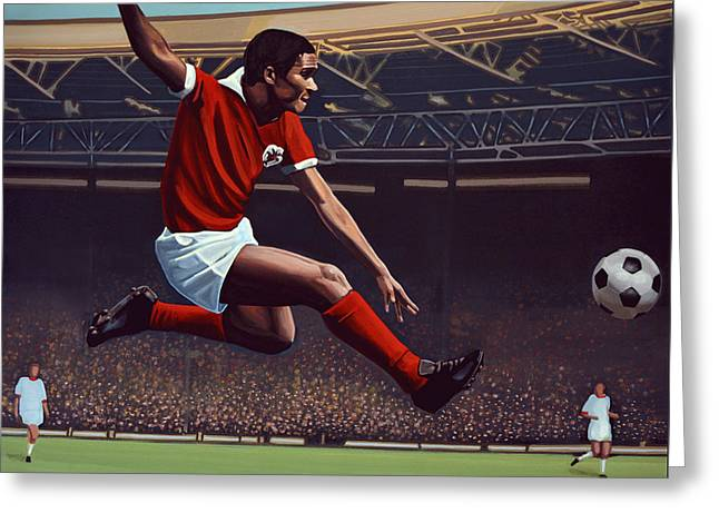 Famous Athletes Greeting Cards - Eusebio Greeting Card by Paul Meijering