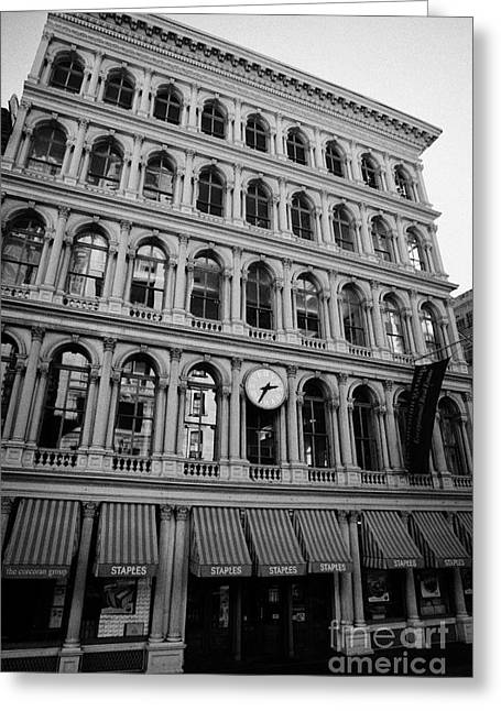 Gaynor Photographs Greeting Cards - E.V. Haughwout building with its clock and cast iron facade on Broadway in Soho new york city Greeting Card by Joe Fox