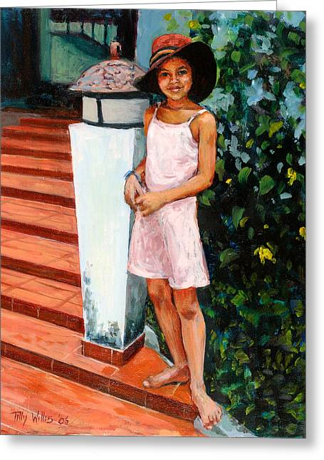 Full-length Portrait Greeting Cards - Eva, 2006 Oil On Canvas Greeting Card by Tilly Willis