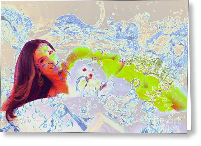 Eva Longoria Greeting Cards - Eva Longoria in Icy Water Greeting Card by Algirdas Lukas