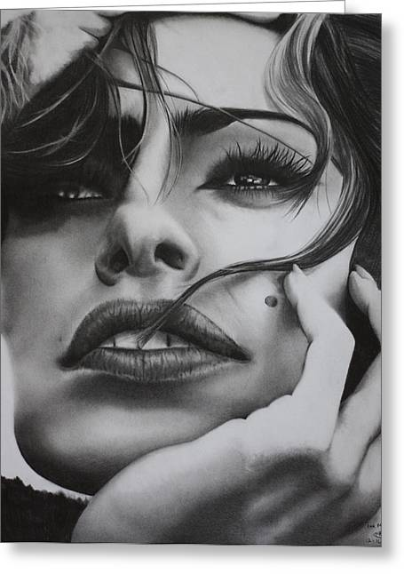 Photorealism Greeting Cards - Eva Mendes Greeting Card by Mitchell Ryan