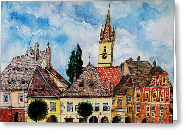 Viridian Greeting Cards - Evangelical Church Tower from Sibiu Transylvania Greeting Card by Ion vincent DAnu