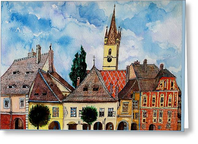 Sienna Greeting Cards - Evangelical Church Tower from Sibiu Transylvania Greeting Card by Ion vincent DAnu