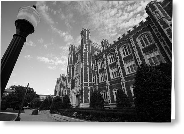 Oklahoma University Greeting Cards - Evans Hall in Black and White Greeting Card by Nathan Hillis